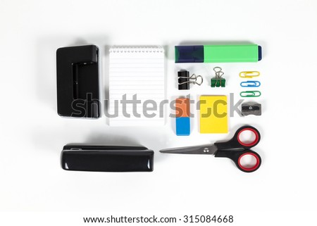 Ordered office supplies isolated - stock photo