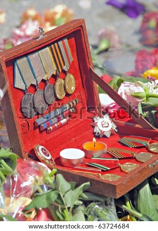orders and medals for winning the Second World War - stock photo