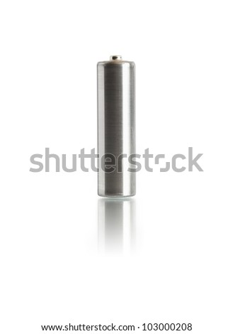 Ordinary old battery standing on white background. Isolated with clipping path - stock photo