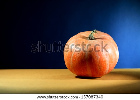 Ordinary orange pumpkin on nice dark background with free space for text