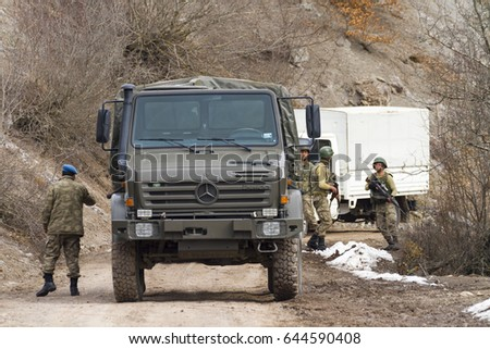 ORDU, TURKEY MARCH 02, 2017: Turkish Military Truck on the dirt road...