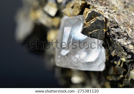 Ore Chalcopyrite with Calcite and pyrite crystals. macro photography 8:1 - stock photo