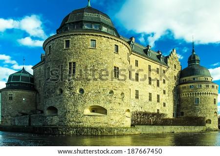 Orebro Castle, located in the city of Orebro, Sweden. - stock photo
