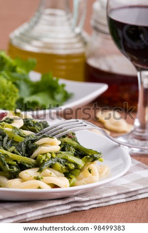 Orecchiette with turnip tops.