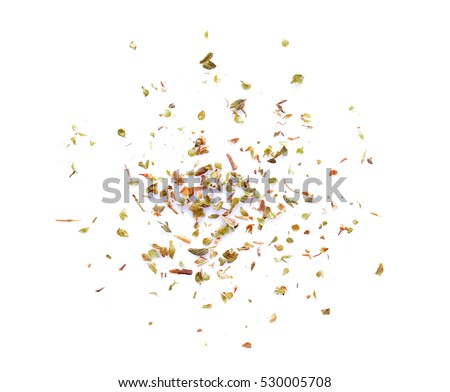 Oregano spice on white background