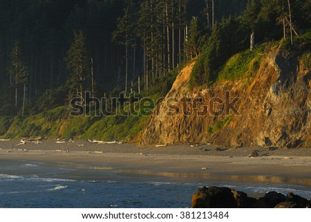 Oregon coast, Sunset on the Indian Beach. - stock photo