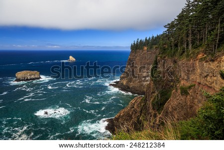 Oregon Coastal Cliffs at Cape Meares - stock photo