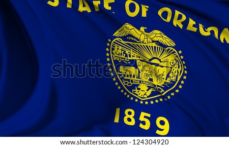 Oregon flag - USA state flags collection no_3 - stock photo