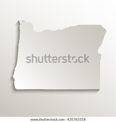 Oregon map card paper 3D natural raster - stock photo