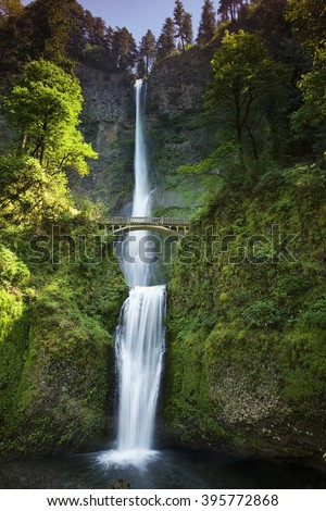 Oregon's Multnomah Falls cascading down 620 feet in the Columbia River Gorge area of the state. - stock photo