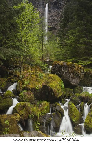 Oregon's Watson Falls and Rapids - stock photo