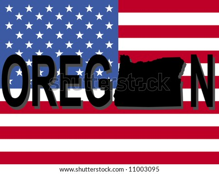Oregon text with map on American flag illustration JPEG