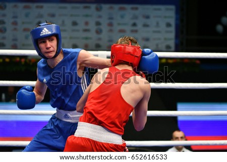 Orenburg, Russia-May 7, 2017 : Boys boxers compete in the Championship of Russia in boxing among Juniors, born 1999-2000
