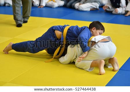 Orenburg, Russia - 05 November 2016: Boys compete in Judo on VI city Judo tournament on prizes the head of the city of Orenburg.