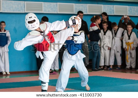 Orenburg, Russia - 23.04.2016: Taekwondo competitions among boys on Open Championship Orenburg city among boys and girls born between 2005-2007