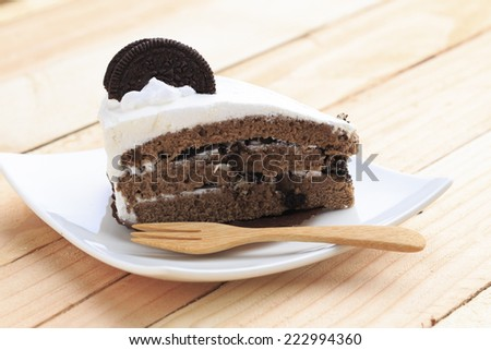 Oreo cake plate on a wooden table. - stock photo