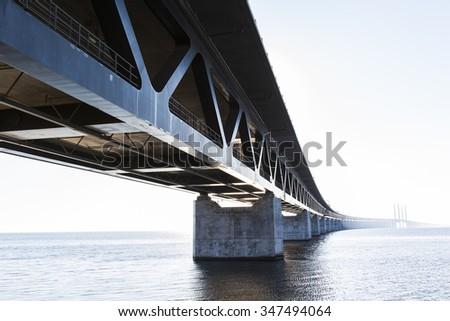 Oresund Bridge,oresunds bron, bridge on the sea ,architecture landscape in sweden - stock photo