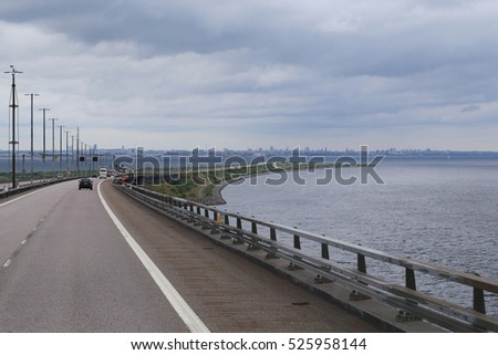 ORESUND, DENMARK - JUNE 29, 2016: This is the road from the Swedish Oresund Bridge to island Poberholm, which is already in Denmark.