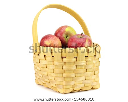 Organic apples in basket on a white background
