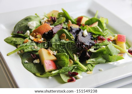 organic baby spring mix salad stacked - stock photo