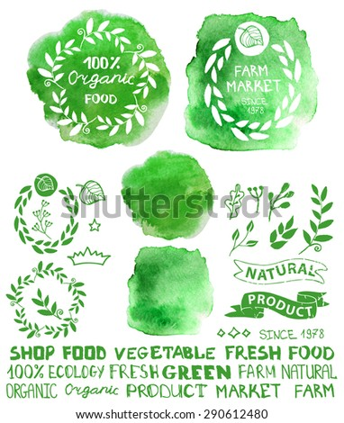 Organic,bio,ecology natural logotypes elements set.Green Watercolor logo splash,ribbons,plants elements,wreaths and laurels,letters and text.Hand drawing painting design template.Raster with path - stock photo