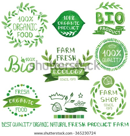Organic,bio,ecology natural  logotypes set.Green Watercolor logo Badges, labels,ribbons,plants elements,wreaths and laurels,letters and text.Hand drawing painting design template.Raster with path - stock photo