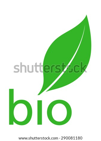 Organic bio green leaf logo design with the silhouette of a single fresh green leaf above the lowercase text - organic over a white background, classic simple clean illustration - stock photo