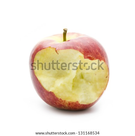 organic bitten apple isolated on white background - stock photo