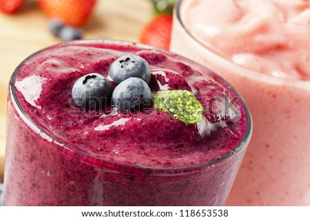 Organic Blueberry Smoothy made with fresh ingredients - stock photo