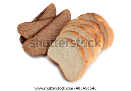 Organic bread on white background