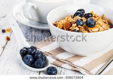 Organic Breakfast cereal with Nuts Milk and Berries