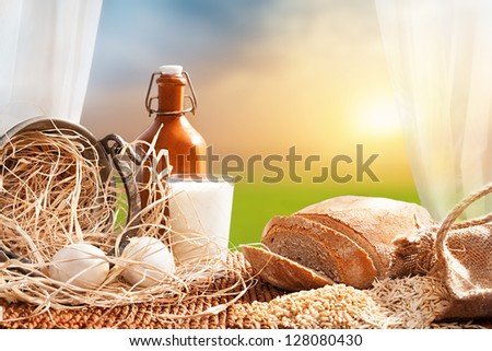 organic breakfast concept with fresh eggs,milk and bread in front of a open window with a beautiful landscape at background - stock photo