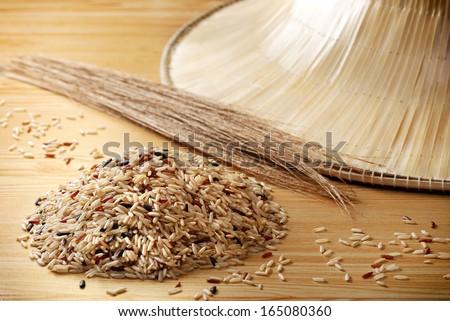 Organic Brown Rice - stock photo