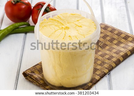 organic butter/organic butter on white wooden table