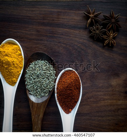 Organic Colorful Indian Spices and Herbs