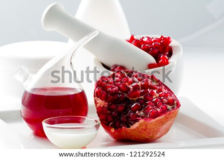 Organic cosmetics - Pomegranate, alternative medicine, healthy cosmetics concept - stock photo