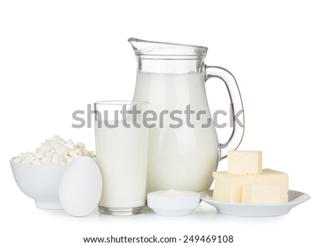Organic dairy products isolated on white background - stock photo