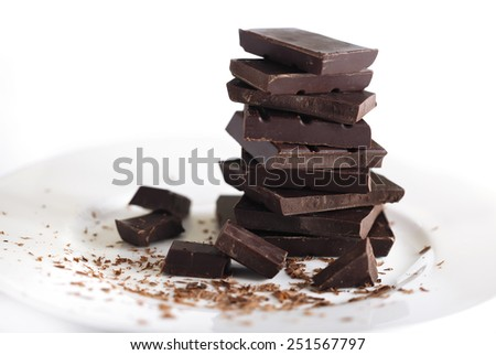 Organic Dark Chocolate on a White Background