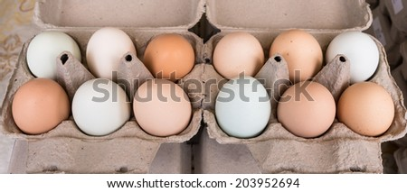 Organic Eggs at Farmers Market - stock photo