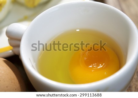 organic eggs  from free-range chicken - stock photo