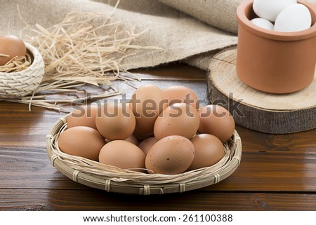 Organic Eggs on Table - stock photo