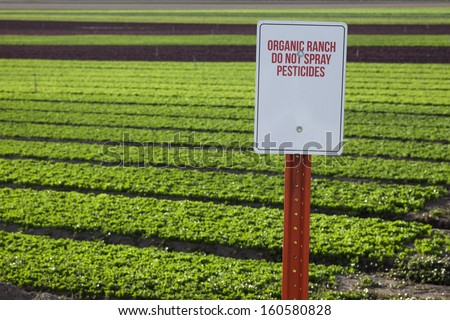 Organic Farm Pesticide Warning - stock photo