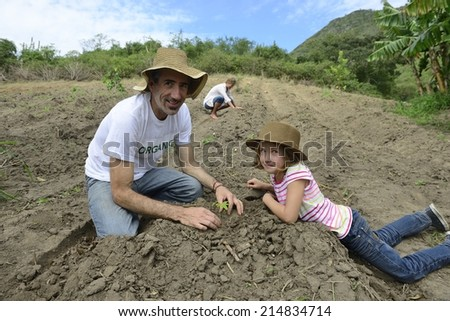 Organic farming: father and daugther planting - stock photo