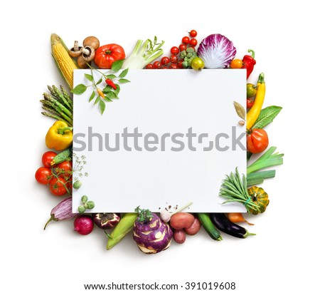 Organic food background and Copy space. Food photography different fruits and vegetables isolated white background. High resolution product - stock photo