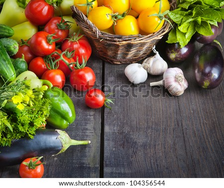 organic food background; Farmers Vegetable Market - stock photo