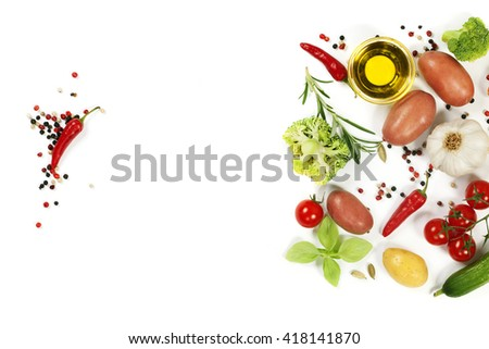 Organic food background - fresh vegetables and spices - stock photo