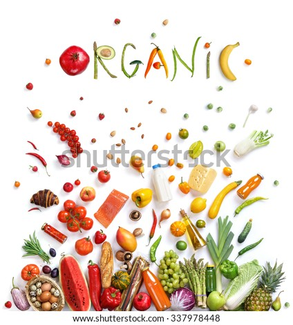 Organic food choice / healthy food symbol represented  by foods explosion to show the health concept of eating well with fruits and vegetables - stock photo