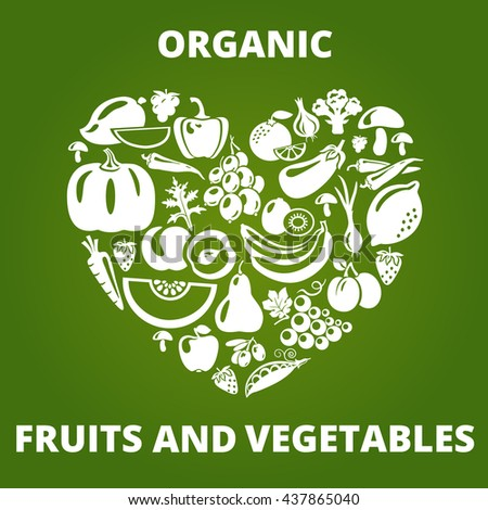 Organic food concept. Heart shape with vegetables and fruits icons. Healthy food concept illustration