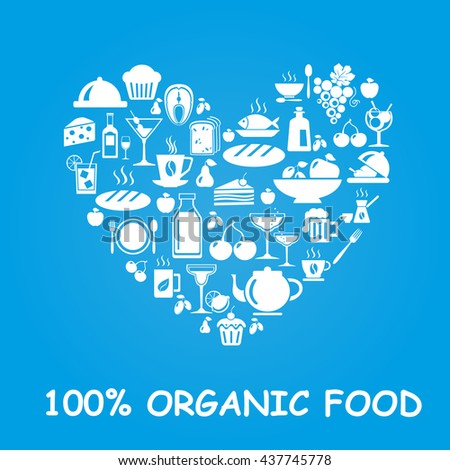 Organic food icons in heart shape.