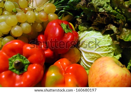 organic food Vegetables and Fruits in a wooden box